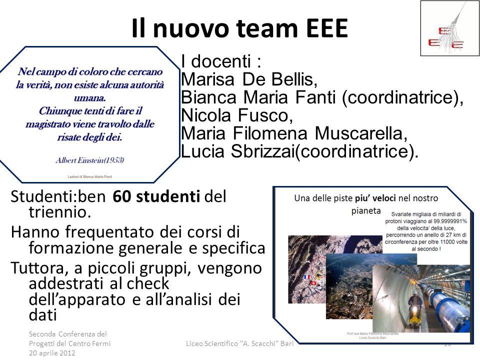 Il nuovo team EEE Studenti:ben 60 studenti del triennio. Hanno frequentato dei corsi di formazione generale e specifica Tuttora, a piccoli gruppi, ven