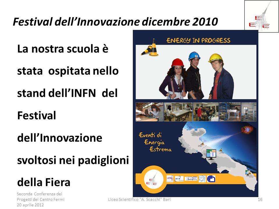 Festival dellInnovazione dicembre 2010 La nostra scuola è stata ospitata nello stand dellINFN del Festival dellInnovazione svoltosi nei padiglioni del