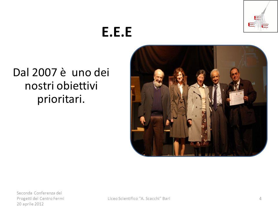 E.E.E Dal 2007 è uno dei nostri obiettivi prioritari. Seconda Conferenza dei Progetti del Centro Fermi 20 aprile 2012 Liceo Scientifico