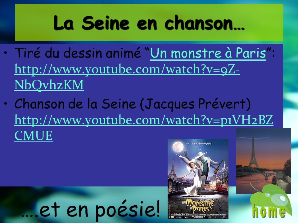 La Seine en chanson… Tiré du dessin animé Un monstre à Paris: http://www.youtube.com/watch?v=9Z- NbQvhzKMUn monstre à Paris http://www.youtube.com/wat