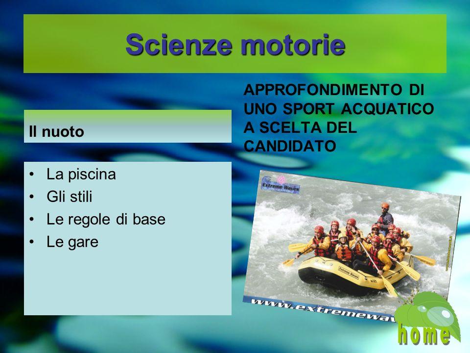 Scienze motorie Il nuoto APPROFONDIMENTO DI UNO SPORT ACQUATICO A SCELTA DEL CANDIDATO La piscina Gli stili Le regole di base Le gare