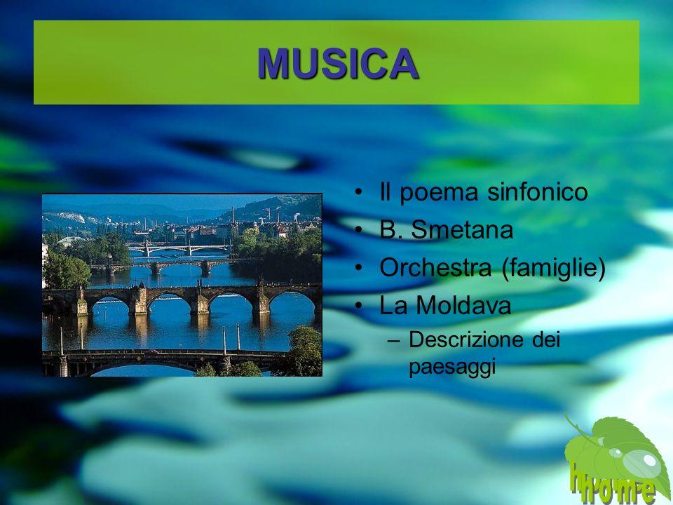 MUSICA Il poema sinfonico B. Smetana Orchestra (famiglie) La Moldava –Descrizione dei paesaggi