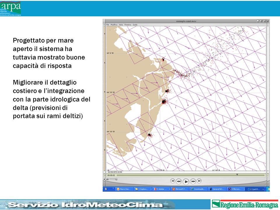 Progettato per mare aperto il sistema ha tuttavia mostrato buone capacità di risposta Migliorare il dettaglio costiero e lintegrazione con la parte id