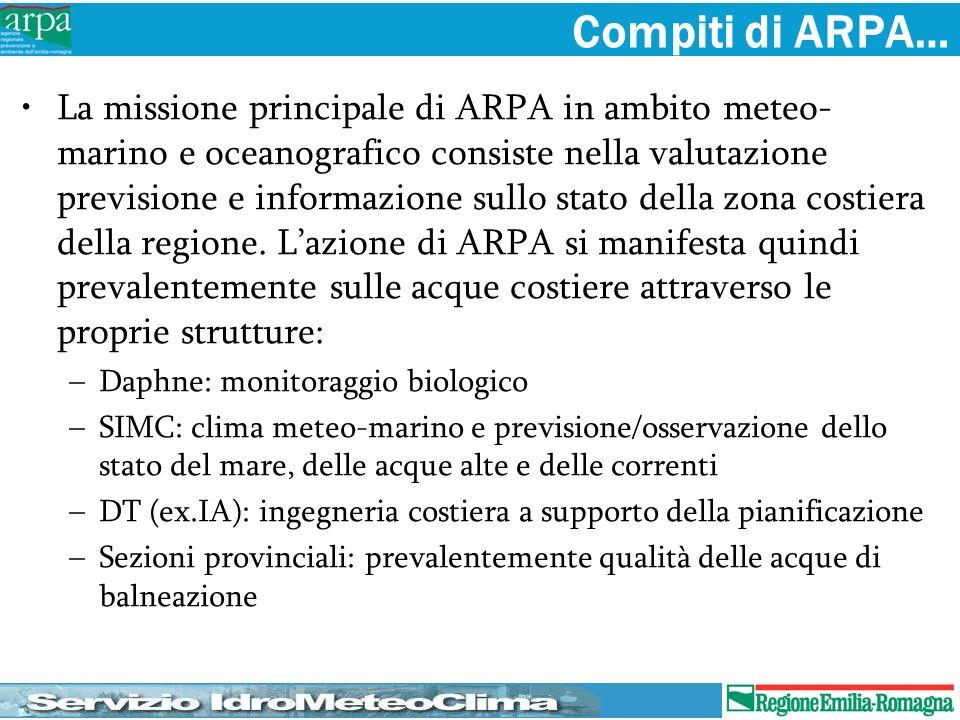Compiti di ARPA… La missione principale di ARPA in ambito meteo- marino e oceanografico consiste nella valutazione previsione e informazione sullo sta