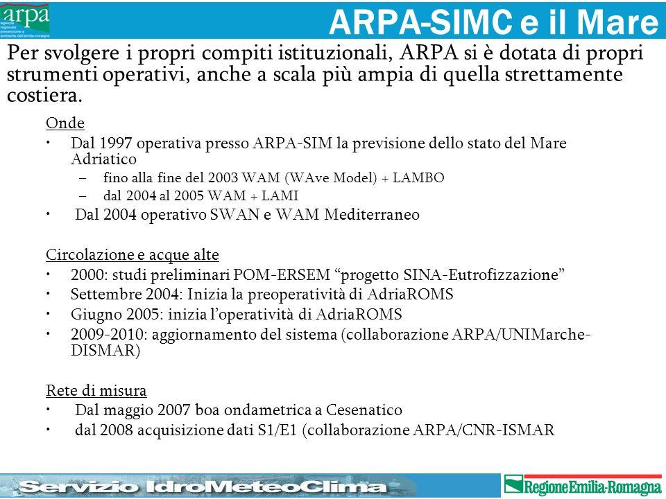 ARPA-SIMC e il Mare Onde Dal 1997 operativa presso ARPA-SIM la previsione dello stato del Mare Adriatico – fino alla fine del 2003 WAM (WAve Model) +