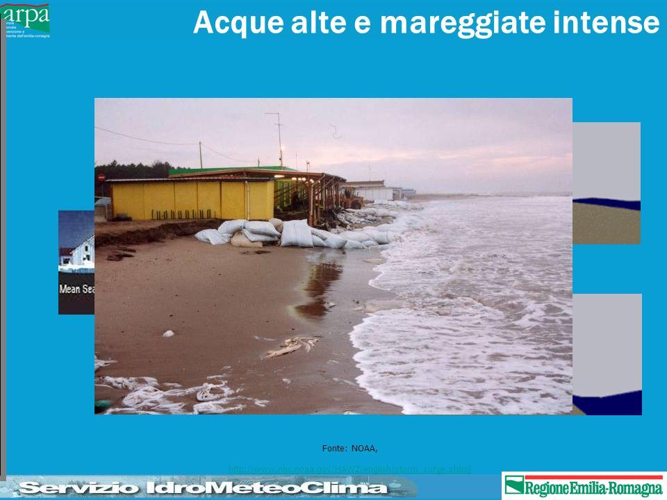 Subsidenza Antropica: Ravenna –1950-1970: > 100 cm –1950-1990: 85 cm Cesenatico –1950-1990: 120 cm Rimini –1950-1990: 50-60 cm Media: –30 – 50 mm/anno Subsidenza naturale (mm/anno) Delta Po: 3.5 – 5 Ravenna: 2.5 – 3.5 Cesenatico: 1.5 – 2.5 Rimini: 0.5 – 1.5 Cattolica: < 0.5 Maree e acque alte Sud Adriatico: – 20 – 30 cm Nord Adriatico: –> 1 m effetti di propagazione associati alla forte variazione di batimetria (> 1000 m da sud a nord)