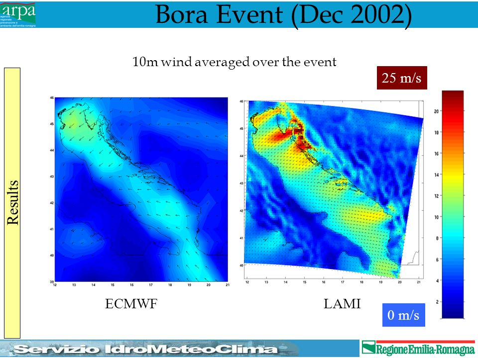 Bora Event (Dec 2002) ECMWFLAMI 10m wind averaged over the event 0 m/s 25 m/s Results
