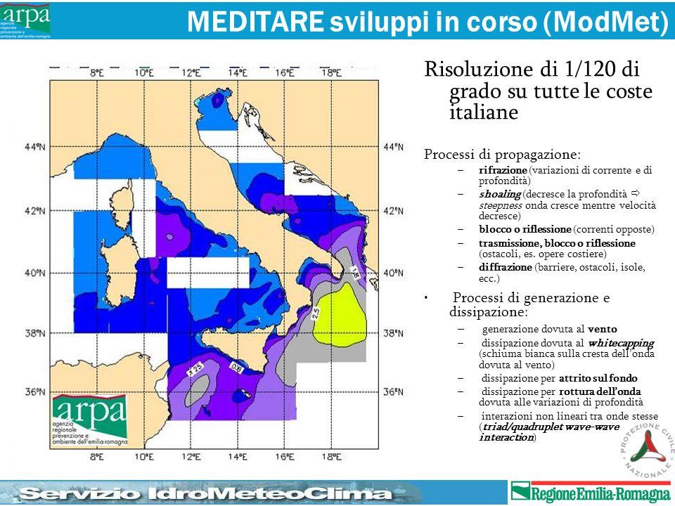 MEDITARE sviluppi in corso (ModMet) Risoluzione di 1/120 di grado su tutte le coste italiane Processi di propagazione: –rifrazione (variazioni di corr