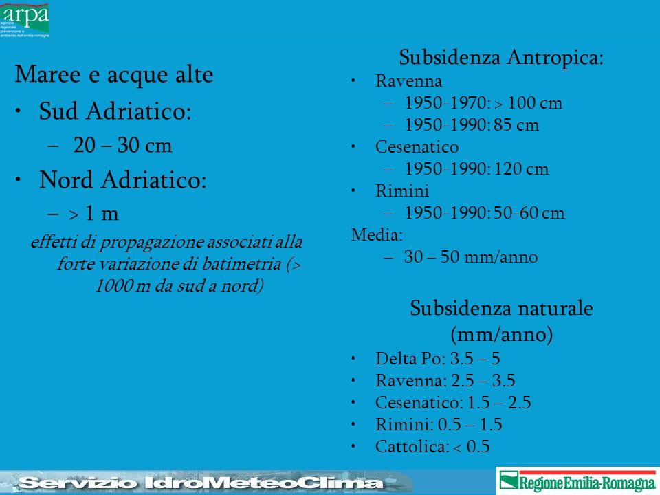 Subsidenza Antropica: Ravenna –1950-1970: > 100 cm –1950-1990: 85 cm Cesenatico –1950-1990: 120 cm Rimini –1950-1990: 50-60 cm Media: –30 – 50 mm/anno