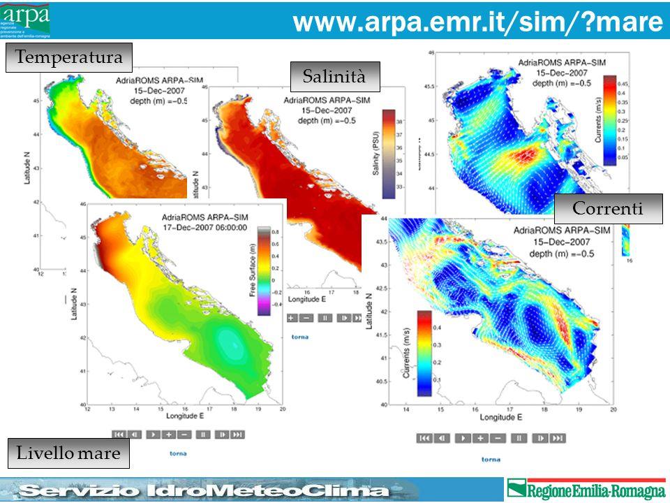 Livello mare Temperatura Salinità Correnti