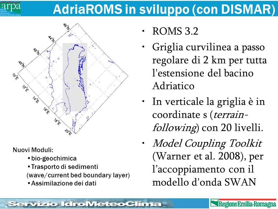 AdriaROMS in sviluppo (con DISMAR) ROMS 3.2 Griglia curvilinea a passo regolare di 2 km per tutta l'estensione del bacino Adriatico In verticale la gr