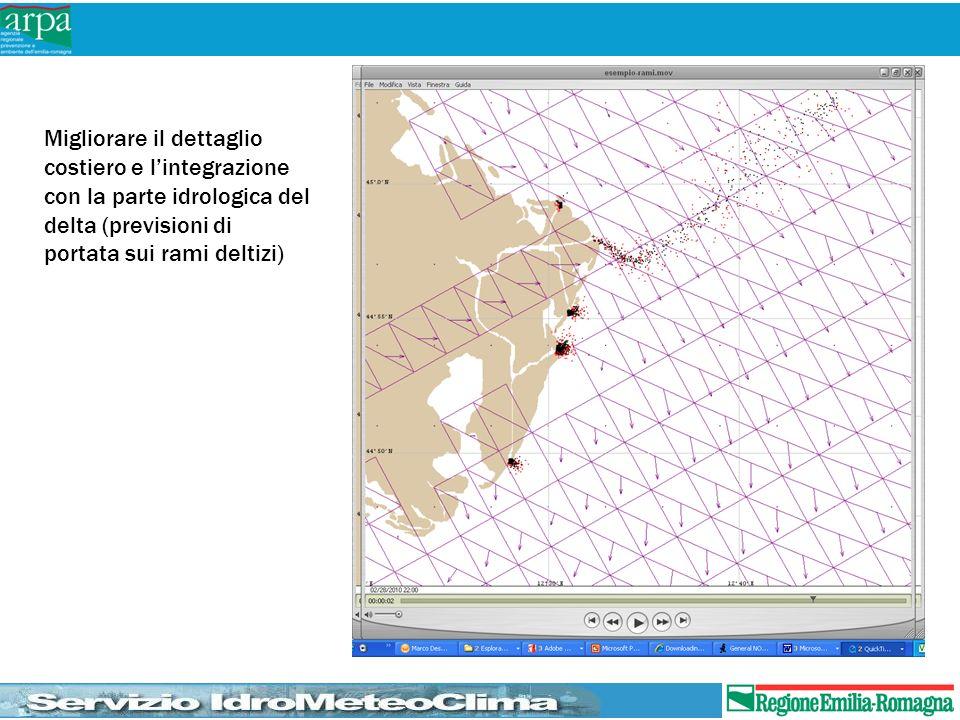 Migliorare il dettaglio costiero e lintegrazione con la parte idrologica del delta (previsioni di portata sui rami deltizi)