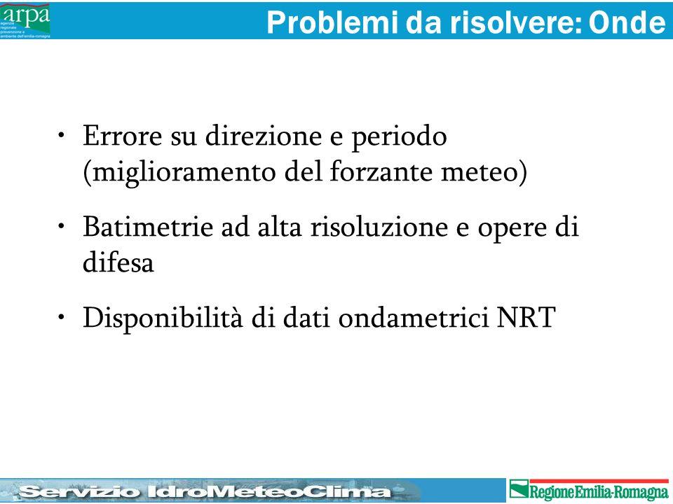 Problemi da risolvere: Onde Errore su direzione e periodo (miglioramento del forzante meteo) Batimetrie ad alta risoluzione e opere di difesa Disponib