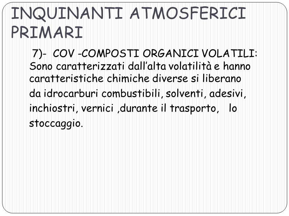 7)- COV -COMPOSTI ORGANICI VOLATILI: Sono caratterizzati dallalta volatilità e hanno caratteristiche chimiche diverse si liberano da idrocarburi combu