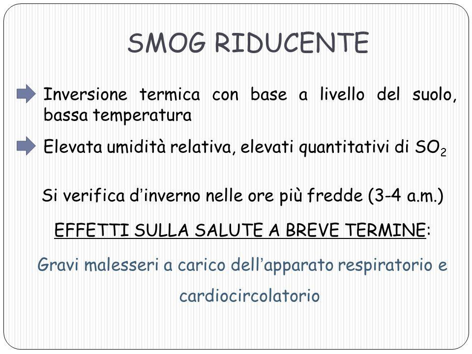 SMOG RIDUCENTE Inversione termica con base a livello del suolo, bassa temperatura Elevata umidità relativa, elevati quantitativi di SO 2 Si verifica d