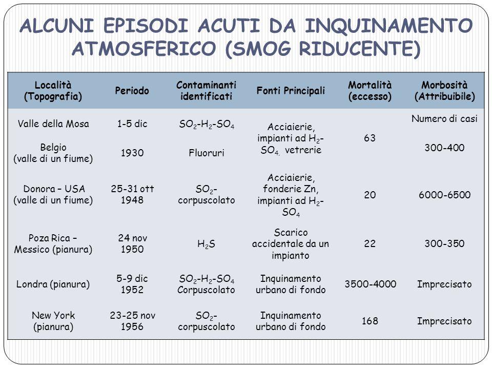 Località (Topografia) Periodo Contaminanti identificati Fonti Principali Mortalità (eccesso) Morbosità (Attribuibile) Valle della Mosa1-5 dicSO 2 -H 2