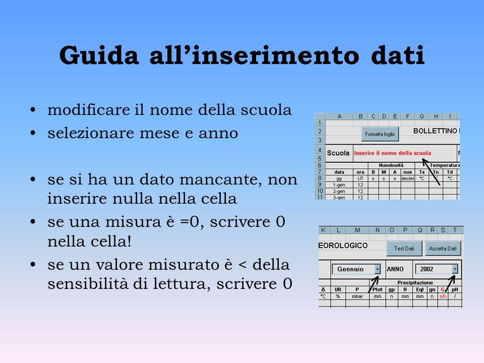 Guida allinserimento dati modificare il nome della scuola selezionare mese e anno se si ha un dato mancante, non inserire nulla nella cella se una misura è =0, scrivere 0 nella cella.