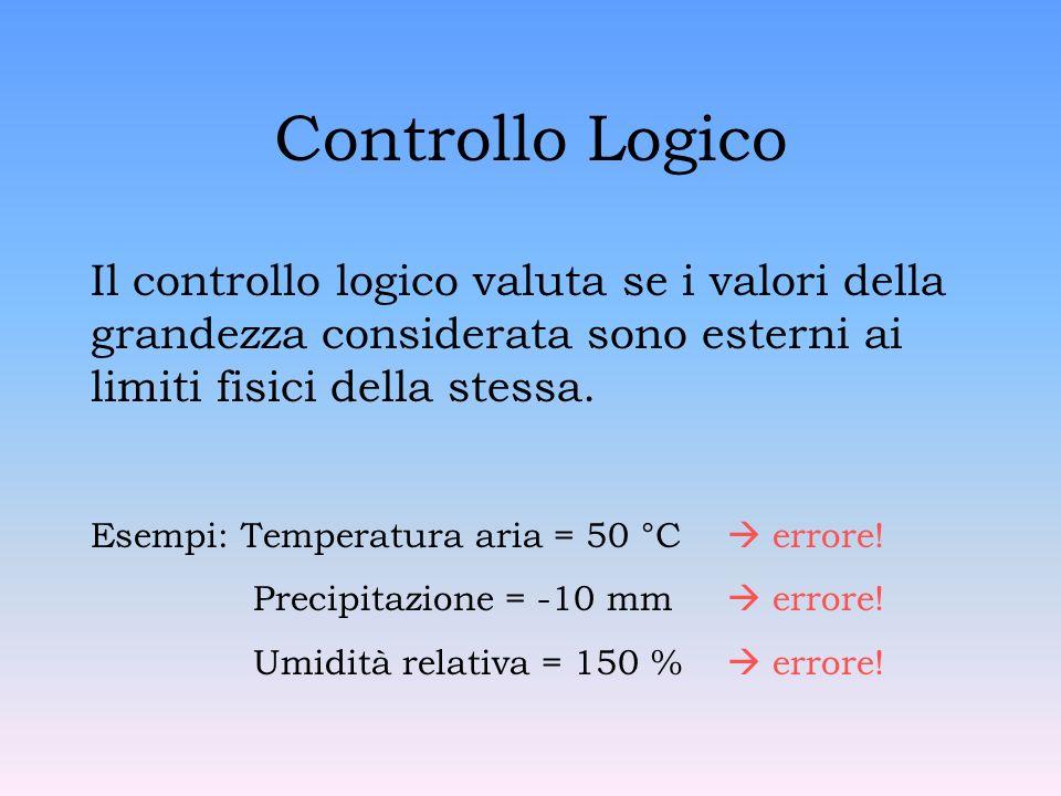 Controllo Logico Il controllo logico valuta se i valori della grandezza considerata sono esterni ai limiti fisici della stessa.