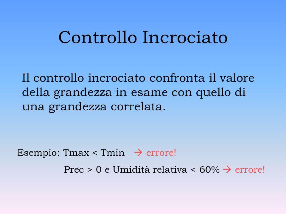 Controllo Incrociato Il controllo incrociato confronta il valore della grandezza in esame con quello di una grandezza correlata.
