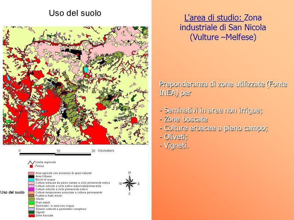 Preponderanza di zone utilizzate (Fonte INEA) per - Seminativi in aree non irrigue; - Zone boscate - Colture erbacee a pieno campo; - Oliveti; - Vigne