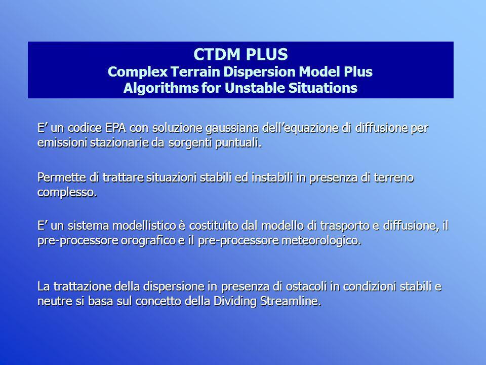 CTDM PLUS Complex Terrain Dispersion Model Plus Algorithms for Unstable Situations E un codice EPA con soluzione gaussiana dellequazione di diffusione