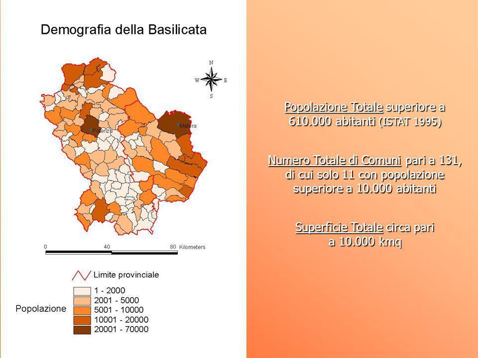 Popolazione Totale superiore a 610.000 abitanti (ISTAT 1995) Numero Totale di Comuni pari a 131, di cui solo 11 con popolazione superiore a 10.000 abi