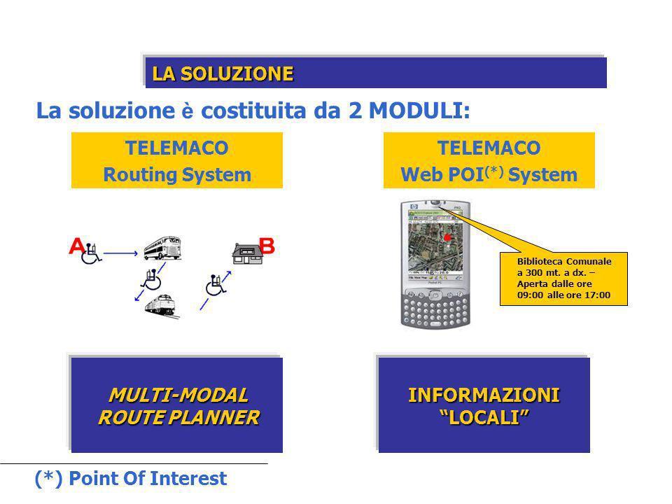 LA SOLUZIONE TELEMACO Routing System TELEMACO Web POI (*) System MULTI-MODAL ROUTE PLANNER INFORMAZIONI LOCALI La soluzione è costituita da 2 MODULI: Biblioteca Comunale a 300 mt.