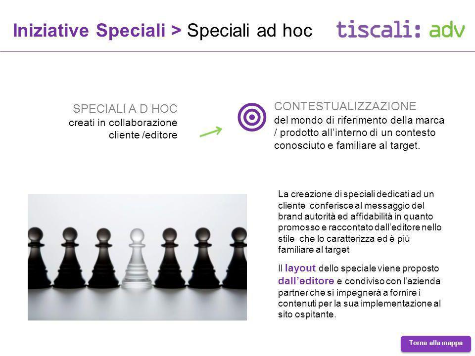 Iniziative Speciali > Speciali ad hoc SPECIALI A D HOC creati in collaborazione cliente /editore CONTESTUALIZZAZIONE del mondo di riferimento della marca / prodotto allinterno di un contesto conosciuto e familiare al target.