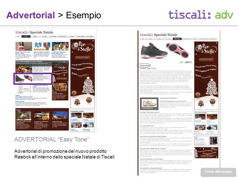 Advertorial > Esempio ADVERTORIAL Easy Tone Advertorial di promozione del nuovo prodotto Reebok allinterno dello speciale Natale di Tiscali Torna alla mappa