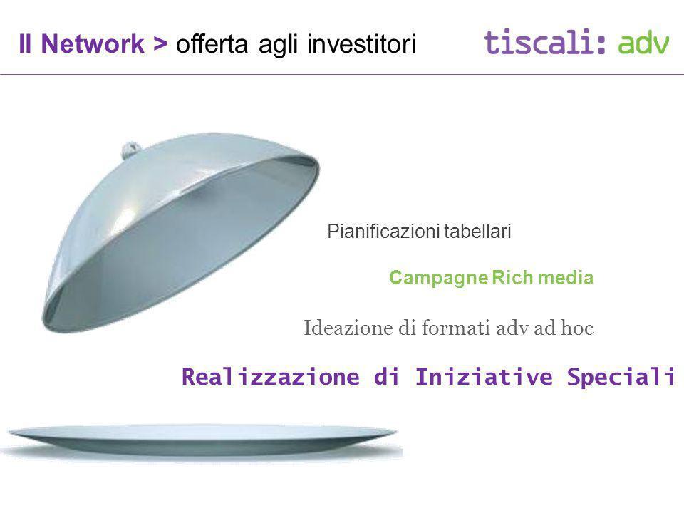 Ideazione di formati adv ad hoc Pianificazioni tabellari Campagne Rich media Realizzazione di Iniziative Speciali Il Network > offerta agli investitori
