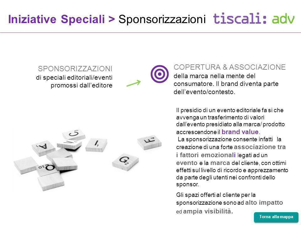 Iniziative Speciali > Sponsorizzazioni SPONSORIZZAZIONI di speciali editoriali/eventi promossi dalleditore COPERTURA & ASSOCIAZIONE della marca nella mente del consumatore.