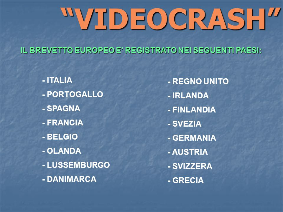 - ITALIA - PORTOGALLO - SPAGNA - FRANCIA - BELGIO - OLANDA - LUSSEMBURGO - DANIMARCA IL BREVETTO EUROPEO E REGISTRATO NEI SEGUENTI PAESI: - REGNO UNIT