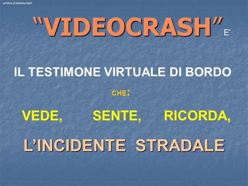 VIDEOCRASHVIDEOCRASH IL TESTIMONE VIRTUALE DI BORDO unidea di Adriano Sarti LINCIDENTE STRADALE VEDE,SENTE,RICORDA, CHE : E