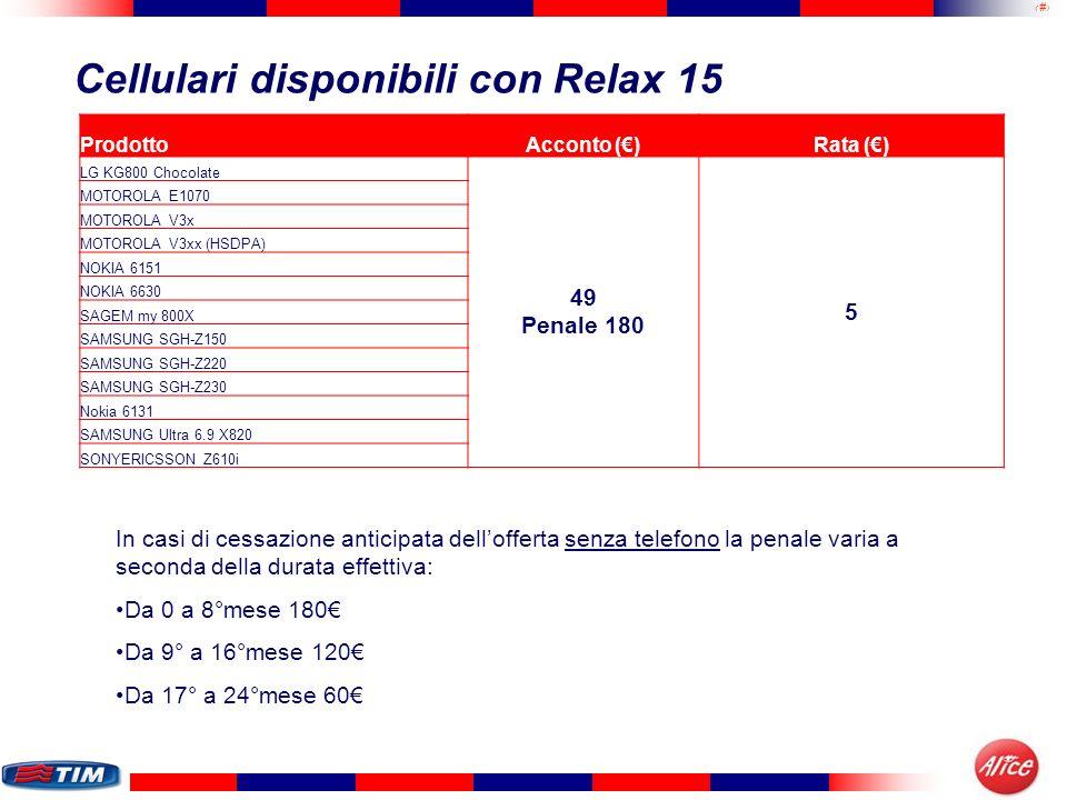 11 Cellulari disponibili con Relax 15 ProdottoAcconto ()Rata () LG KG800 Chocolate 49 Penale 180 5 MOTOROLA E1070 MOTOROLA V3x MOTOROLA V3xx (HSDPA) N