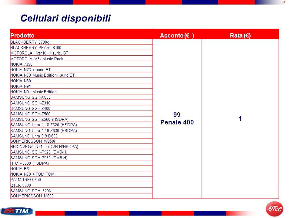 16 Cellulari disponibili ProdottoAcconto ( )Rata () BLACKBERRY 8700g 99 Penale 400 1 BLACKBERRY PEARL 8100 MOTOROLA Krzr K1 + auric. BT MOTOROLA V3x M