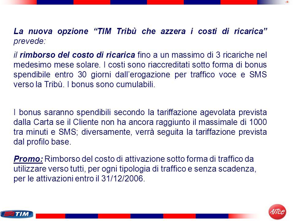 18 La nuova opzione TIM Tribù che azzera i costi di ricarica prevede: il rimborso del costo di ricarica fino a un massimo di 3 ricariche nel medesimo