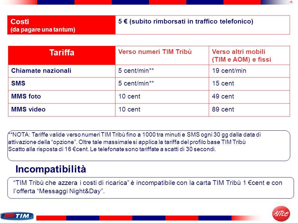 19 Tariffa Verso numeri TIM TribùVerso altri mobili (TIM e AOM) e fissi Chiamate nazionali5 cent/min**19 cent/min SMS5 cent/min**15 cent MMS foto10 ce