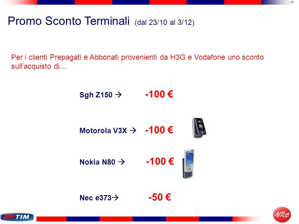 24 Promo Sconto Terminali (dal 23/10 al 3/12) Per i clienti Prepagati e Abbonati provenienti da H3G e Vodafone uno sconto sullacquisto di… Sgh Z150 -1