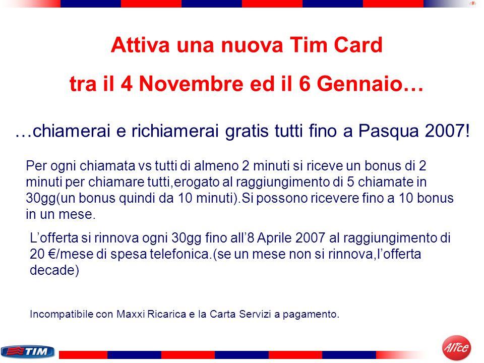 27 Attiva una nuova Tim Card tra il 4 Novembre ed il 6 Gennaio… …chiamerai e richiamerai gratis tutti fino a Pasqua 2007! Per ogni chiamata vs tutti d