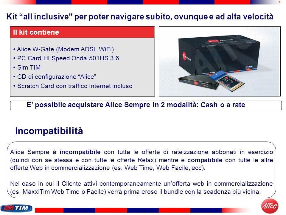 30 Kit all inclusive per poter navigare subito, ovunque e ad alta velocità Il kit contiene Alice W-Gate (Modem ADSL WiFi) PC Card HI Speed Onda 501HS