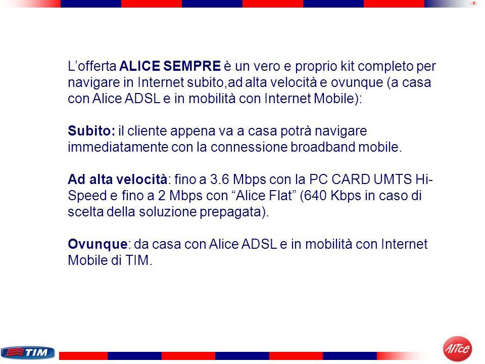 31 Lofferta ALICE SEMPRE è un vero e proprio kit completo per navigare in Internet subito,ad alta velocità e ovunque (a casa con Alice ADSL e in mobil