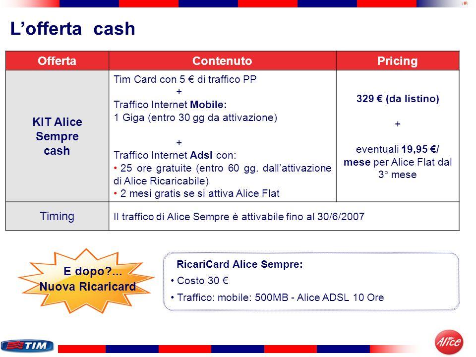 32 OffertaContenutoPricing KIT Alice Sempre cash Tim Card con 5 di traffico PP + Traffico Internet Mobile: 1 Giga (entro 30 gg da attivazione) + Traff