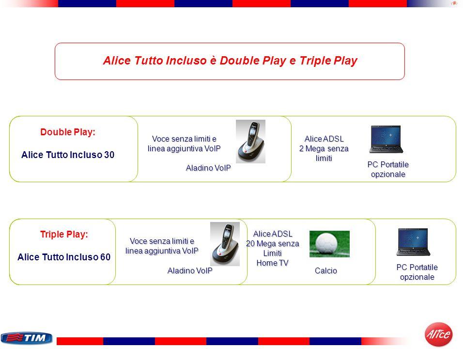 37 Alice Tutto Incluso è Double Play e Triple Play Double Play: Alice Tutto Incluso 30 Voce senza limiti e linea aggiuntiva VoIP Aladino VoIP Alice AD