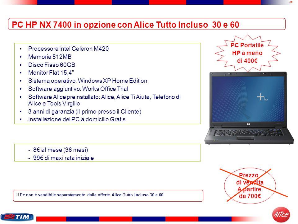 38 Processore Intel Celeron M420 Memoria 512MB Disco Fisso 60GB Monitor Flat 15,4 Sistema operativo: Windows XP Home Edition Software aggiuntivo: Work