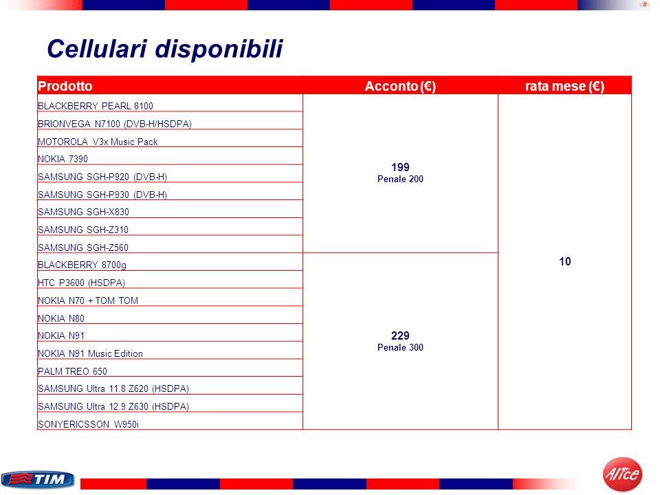 8 Cellulari disponibili ProdottoAcconto ()rata mese () NEC e373 19 penale 250 5 BENQ-SIEMENS EF81 69 Penale 200 MOTOROLA E1070 NOKIA 6151 NOKIA 6630 ONDA N5050 SAGEM my800X SAMSUNG SGH-Z150 SAMSUNG SGH-Z220 SAMSUNG SGH-Z230 SONYERICSSON Z610i LG KG800 Chocolate 149 Penale 200 MOTOROLA V3x NOKIA N70 NOKIA N70 Music Edition QTEK 8500 SAMSUNG SGH-Z300 SAMSUNG SGH-Z510 SAMSUNG Ultra 6.9 X820 MOTOROLA V3xx (HSDPA) MOTOROLA Krzr K1 + auric BT 189 Penale 200 8 NOKIA N73 + auric BT NOKIA N73 Music Edition+ auric BT SAMSUNG SGH-Z400 SAMSUNG SGH-Z560 (HSDPA) SAMSUNG Ultra 9.9 D830 SONYERICSSON M600i NOKIA E61 SAMSUNG SGH-i320N