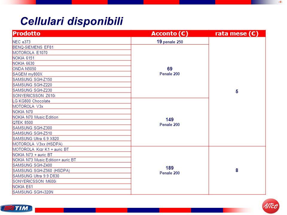 8 Cellulari disponibili ProdottoAcconto ()rata mese () NEC e373 19 penale 250 5 BENQ-SIEMENS EF81 69 Penale 200 MOTOROLA E1070 NOKIA 6151 NOKIA 6630 O