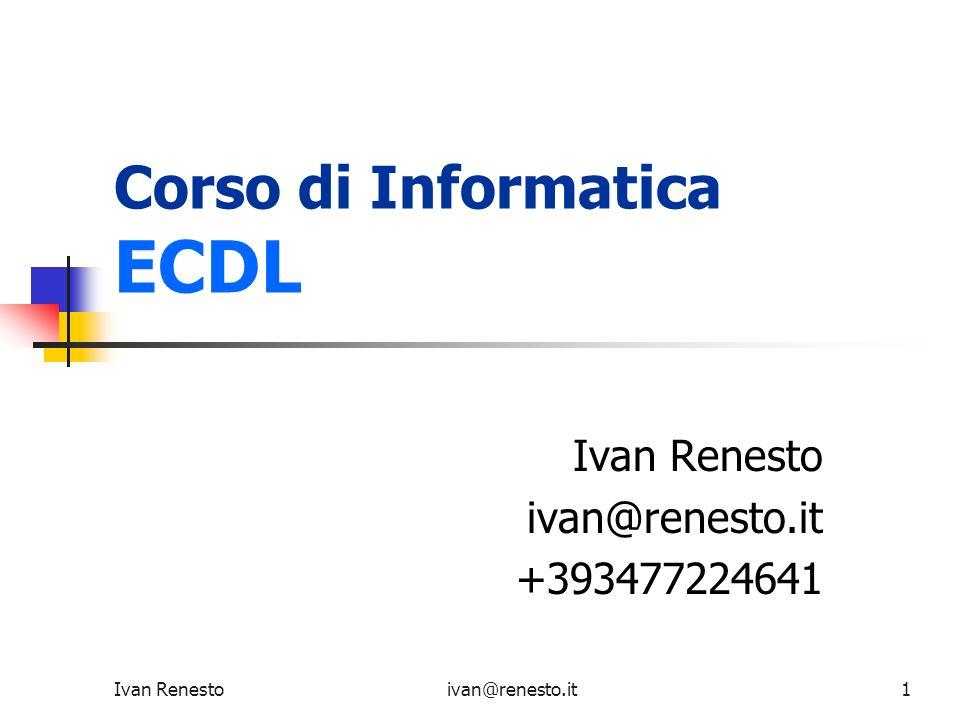 Ivan Renestoivan@renesto.it132 Tabelle Una tabella si compone di: Righe (rows) Colonne (columns) I tag che definiscono questi due elementi sono: per le righe: … per le colonne: …