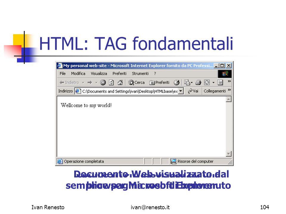 Ivan Renestoivan@renesto.it104 HTML: TAG fondamentali Codice HTML associato ad una semplice pagina web di benvenuto Documento Web visualizzato dal bro