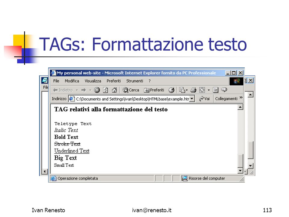 Ivan Renestoivan@renesto.it113 TAGs: Formattazione testo