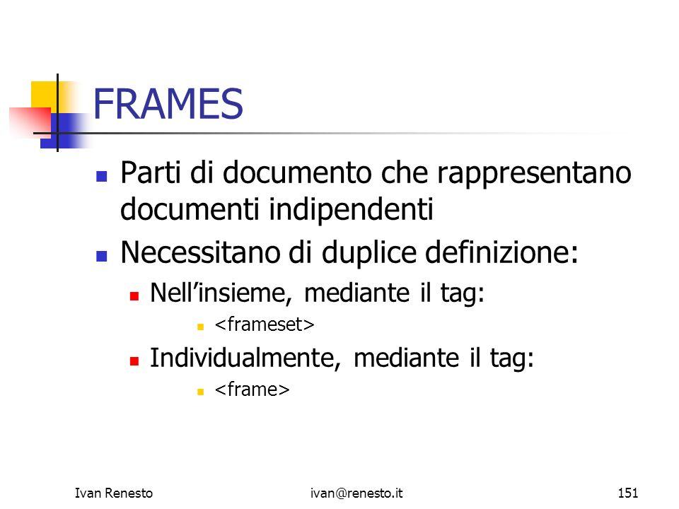 Ivan Renestoivan@renesto.it151 FRAMES Parti di documento che rappresentano documenti indipendenti Necessitano di duplice definizione: Nellinsieme, med